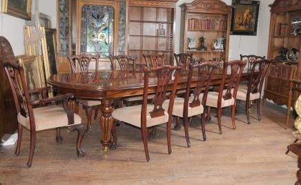 Victorian Dining Table Set Chippendale Chairs Set Suite Mahogany : mahogany dining table set - pezcame.com