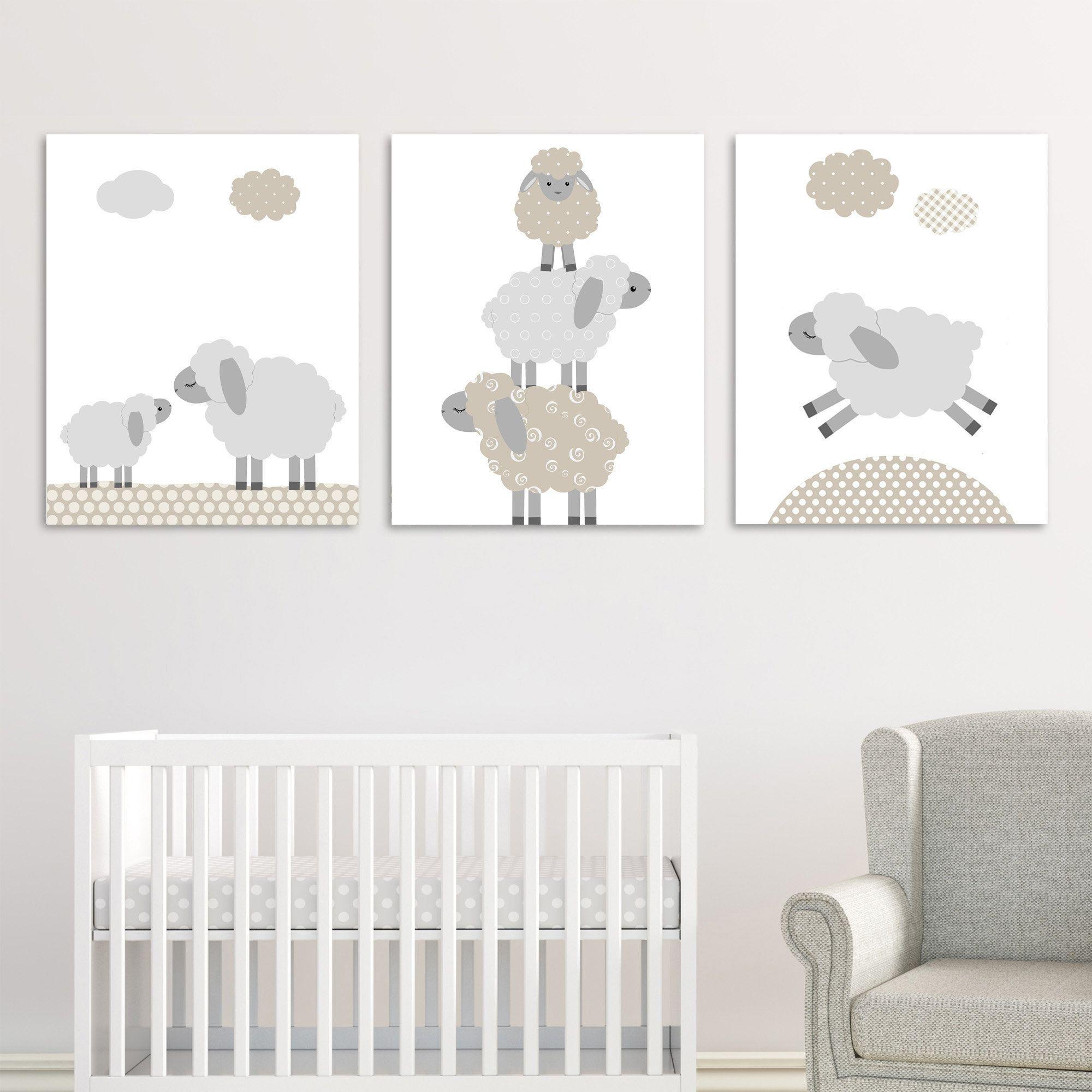 Lamb Nursery Decor Sheep Wall Art Gender Neutral Baby Wall Etsy In 2020 Lamb Nursery Decor Lamb Nursery Baby Wall Decor