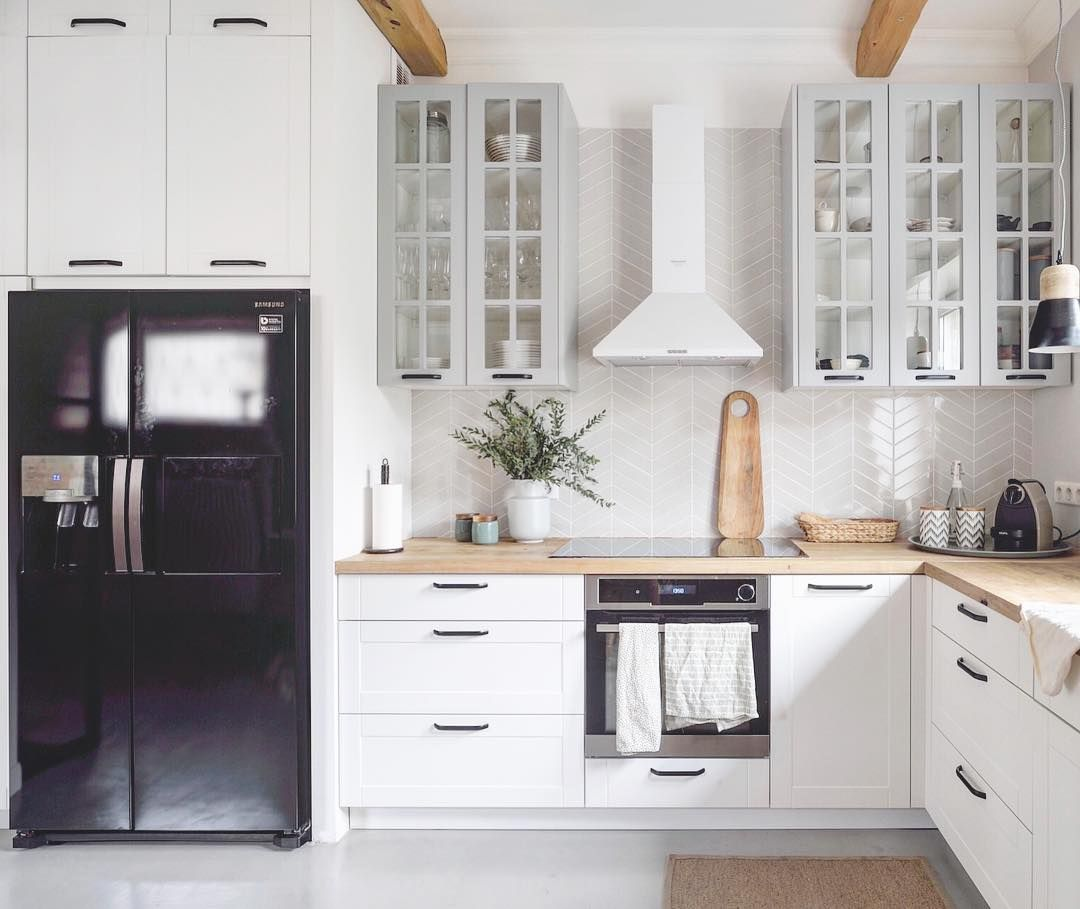 "Ikea Küche Side By Side Kühlschrank Shoko.design On Instagram: ""bali's Kitchen With Grey Chevron Tiles❤️ And Black Side By Side Fridge… 