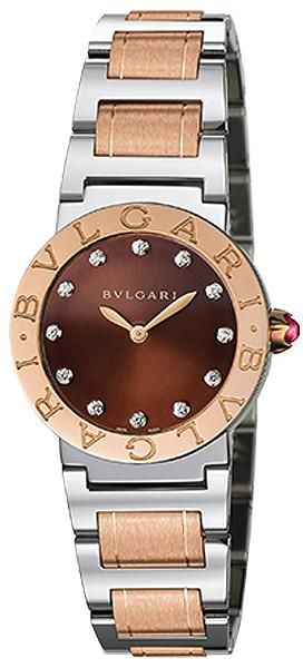 e6c88a31b8b9 BVLGARI Brown Lacquered Diamond Dial Stainless Steel   18k Pink Gold 26mm…  Reloj Dama