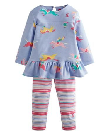 Joules Baby Girls Cuffed Trouser and T-Shirt Set, Blue Pony Club.