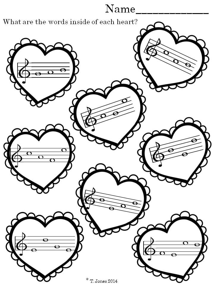 Music Worksheets: Valentine's Day Note Reading Fun {Treble