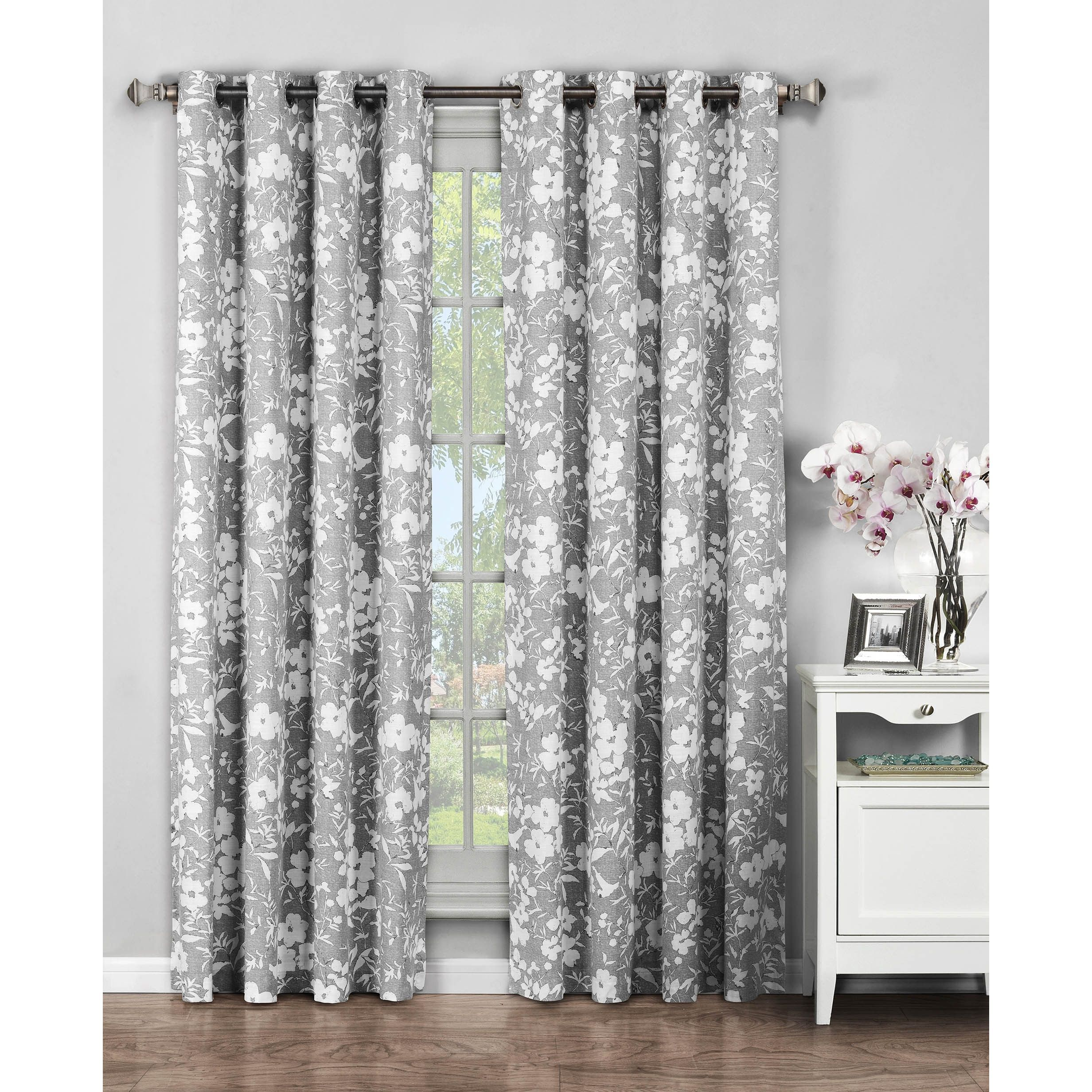 Window Elements Florabotanica Cotton 96 Inch Grommet Curtains Grey Size 52 X