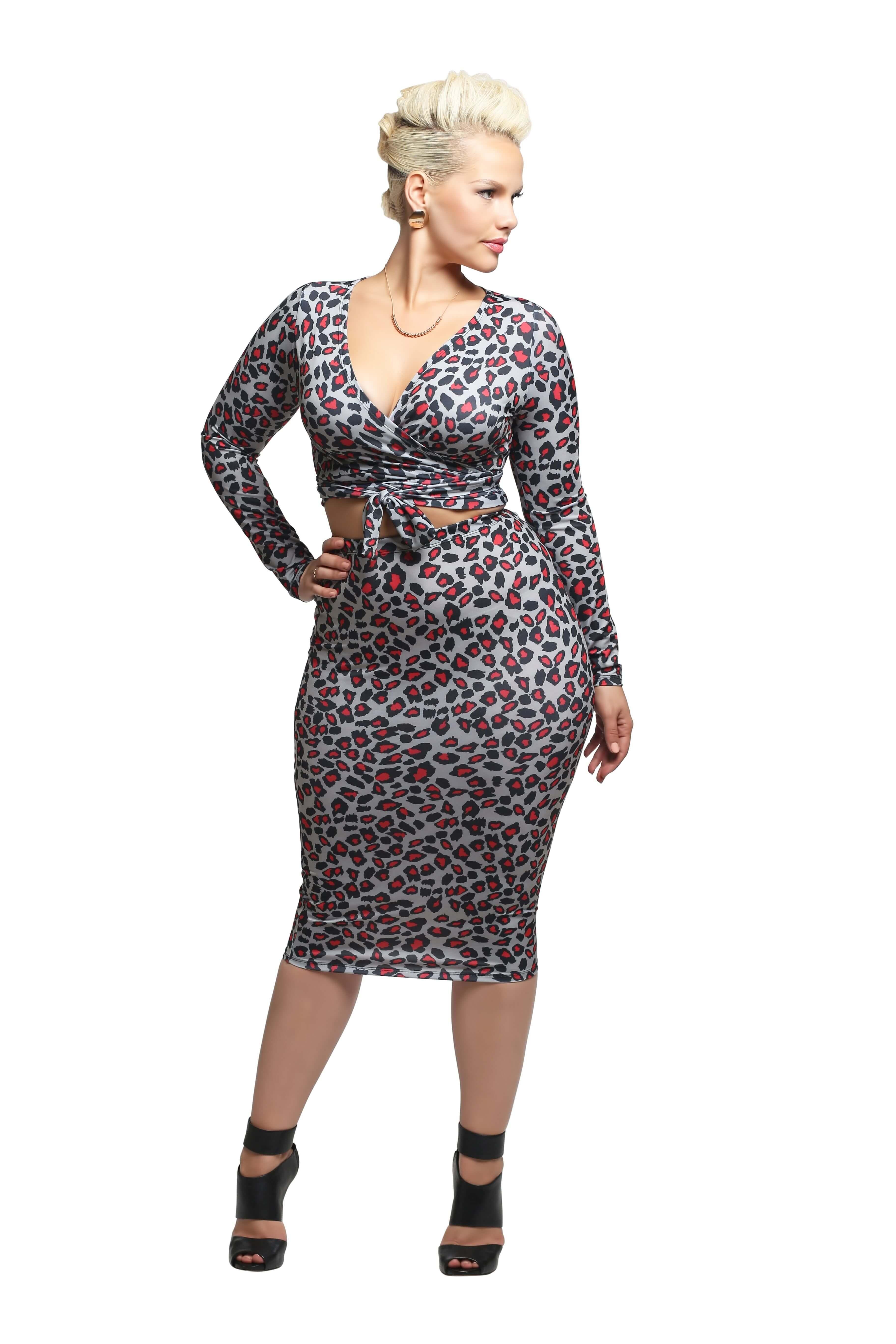 'Felicity' Midi Skirt - Spotty Gray Red Cheetah