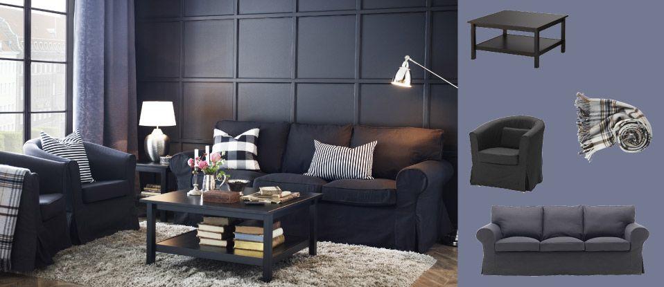 canap trois places ektorp et fauteuil ektorp tullsta avec housse idemo noir et table basse. Black Bedroom Furniture Sets. Home Design Ideas