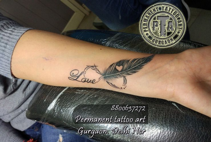 Name Tattoo Design With Infinty And Feather