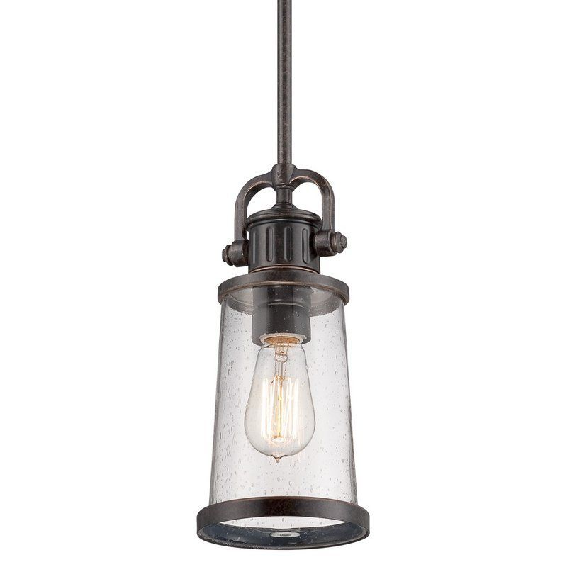 buy the quoizel imperial bronze direct shop for the quoizel imperial bronze steadman 1 light mini pendant with clear seedy glass and vintage edison bulb