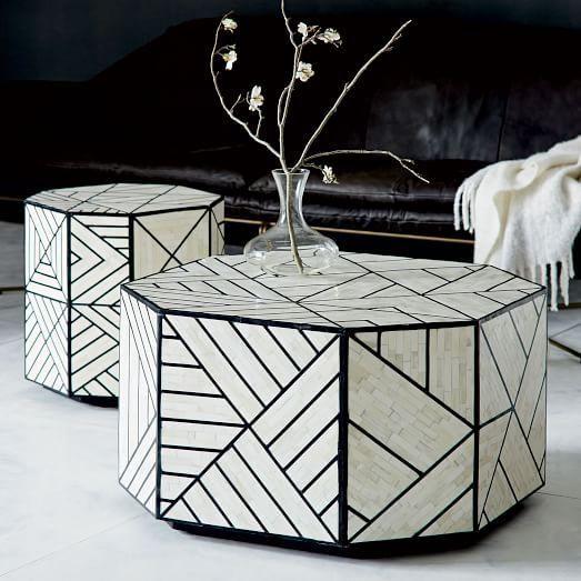 Black And White Geometric Bone Inlay Coffee Table 30 Diam X 16 50 H Hand Inlaid Tiles Over Engineered Woo Bone Inlay Side Table Coffee Table White Bone Inlay