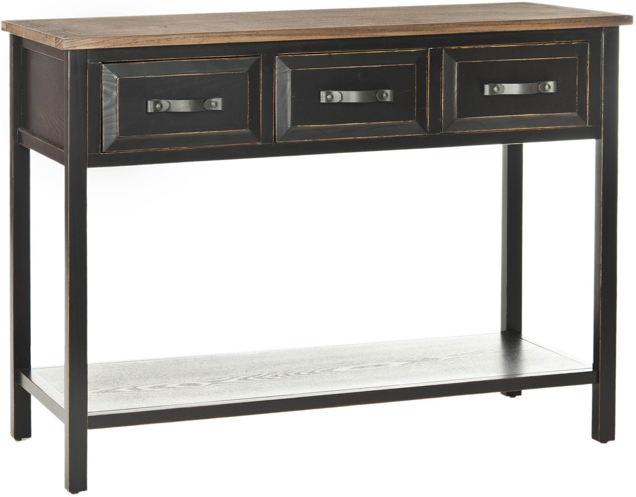Aiden console table black oak products pinterest console safavieh harvard console table in distressed black and walnut geotapseo Gallery