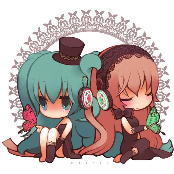 hatsune miku and megurine luka chibi magnet vocaloid