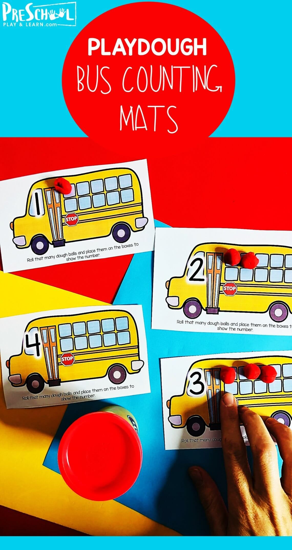 School Bus Counting Playdough Mats