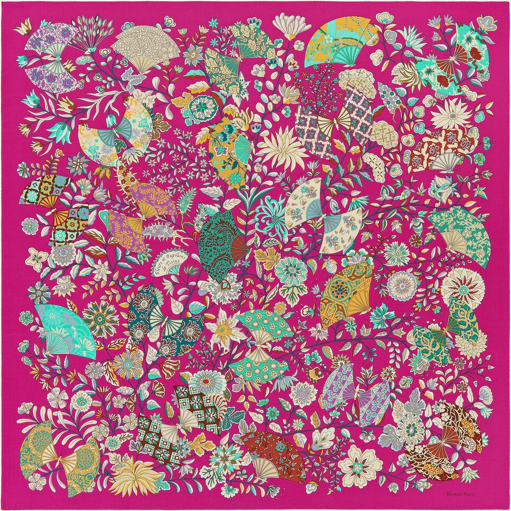 Shawl Hermès   Fleurs et Papillons de Tissus   flower   Pinterest ... 666f7727db1