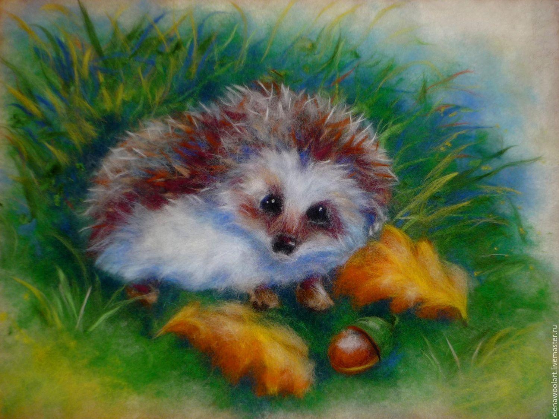 Купить Шерстяная живопись. В осеннем лесу - оранжевый ...