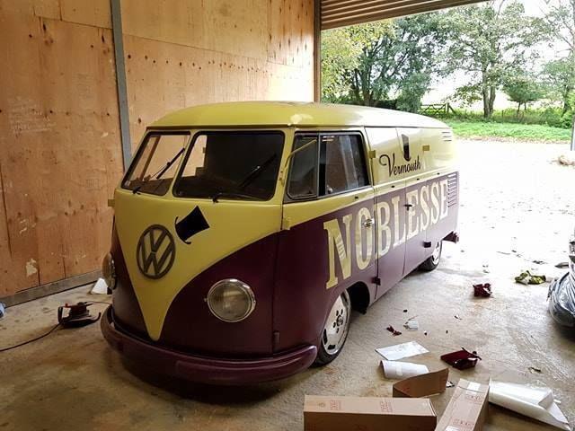 Rare Restored 1954 Double Door Barndoor Og Roof Logo Og Colours Splitty Vw Bus