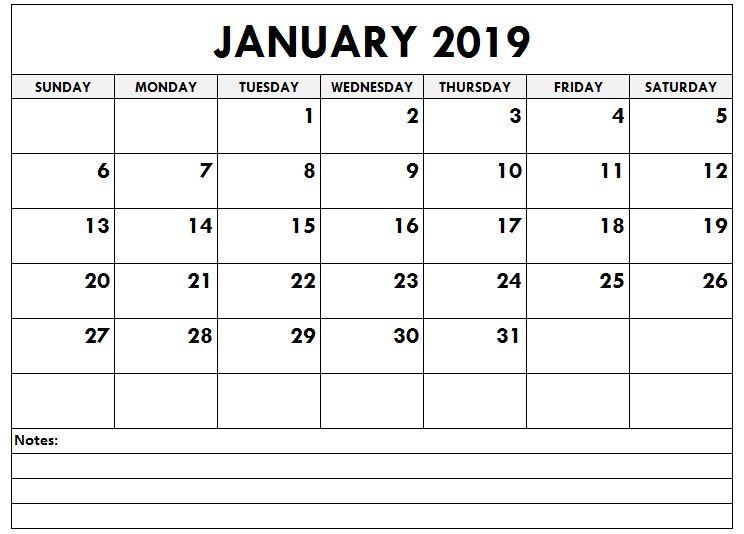 January 2019 Editable Calendar with Notes January Calendar 2019