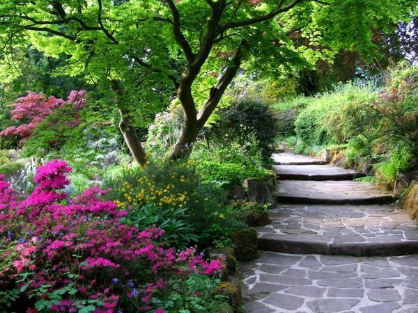 landschaft ideen-garten treppen-selber bauen-stein Garten