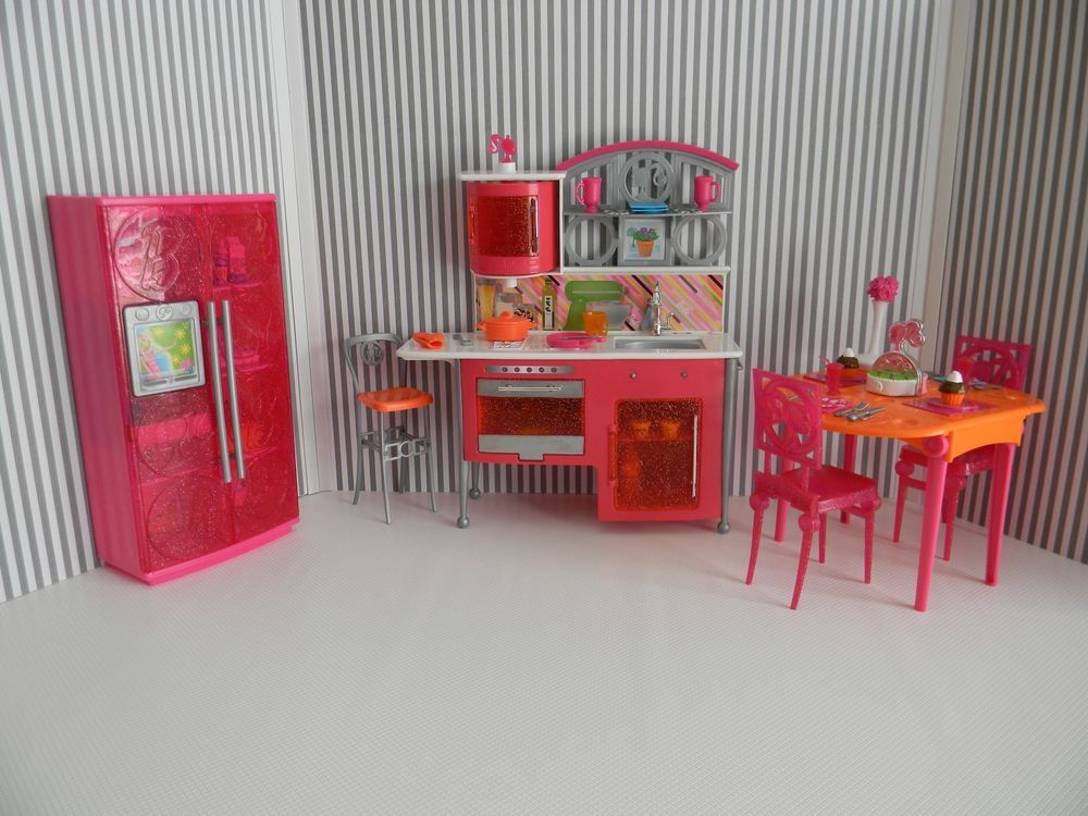 Barbie Doll House Furniture Kitchen Playset Lot-Kitchen, Fridge, Table, Chairs