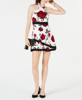 493249a7895 Teeze Me Juniors  Floral-Print Fit   Flare Dress - Ivory Cream 1 ...