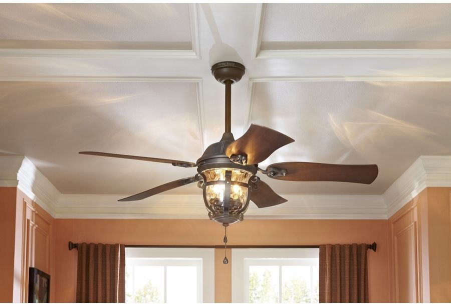 Indoor/Outdoor Ceiling Fan with Light Kit Black Iron Home Decor Free