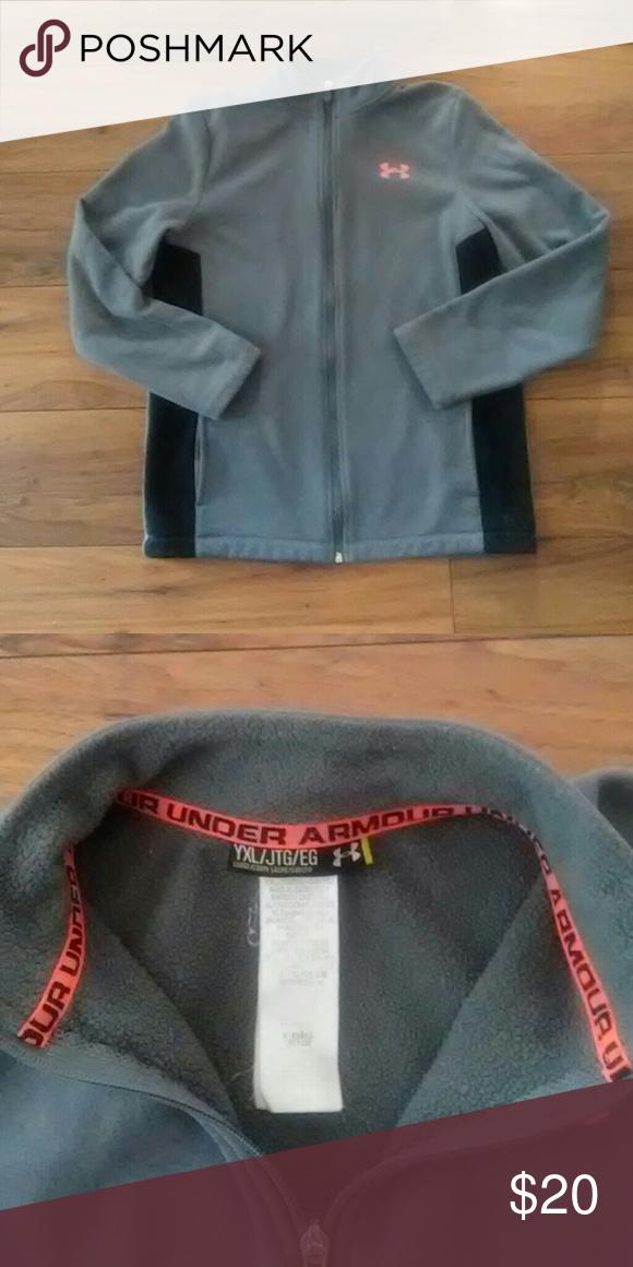 5d8a5fc2ba39 UA Boys Zip Up Sweatshirt Youth XL grey sweatshirt with black and orange  accents