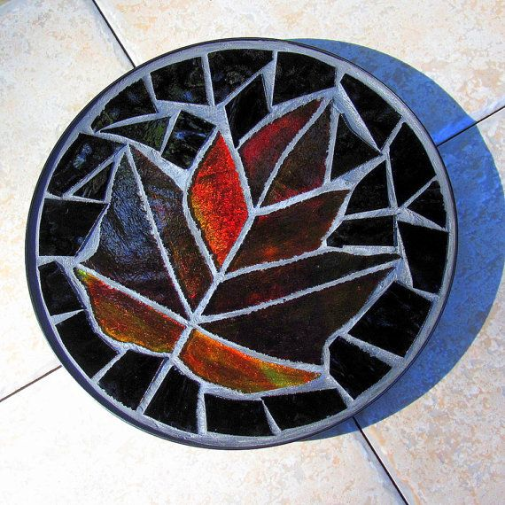 Red Maple Leaf Stained Glass Mosaic Trivet Dish by LivingGlassArt, $20.00
