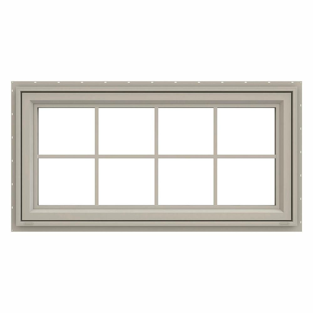 Jeld Wen 47 5 In X 23 5 In V 4500 Series Desert Sand Vinyl Awning Window With Colonial Grids Grilles Thdjw140000310 Window Awnings Windows