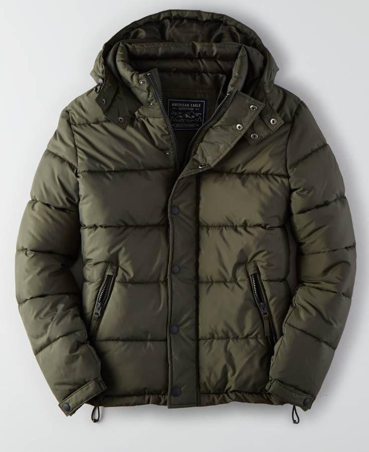 AEO Puffer Jacket (Coat), Men's, Olive Green | *Clothing ...