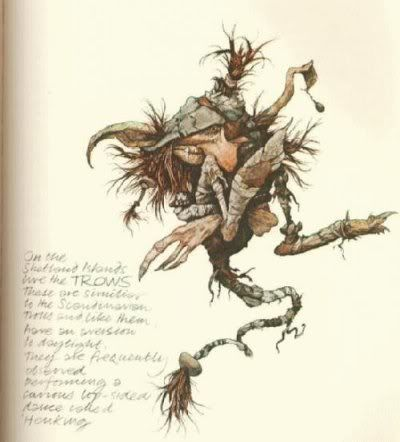 In the folkloric traditions of the Orkney and Shetland islands, a trow (alternatively trowe or drow) is a small, troll-like fairy creature.[1] Trows, in general, are inclined to be short of stature, ugly and both shy and mischievous in nature.