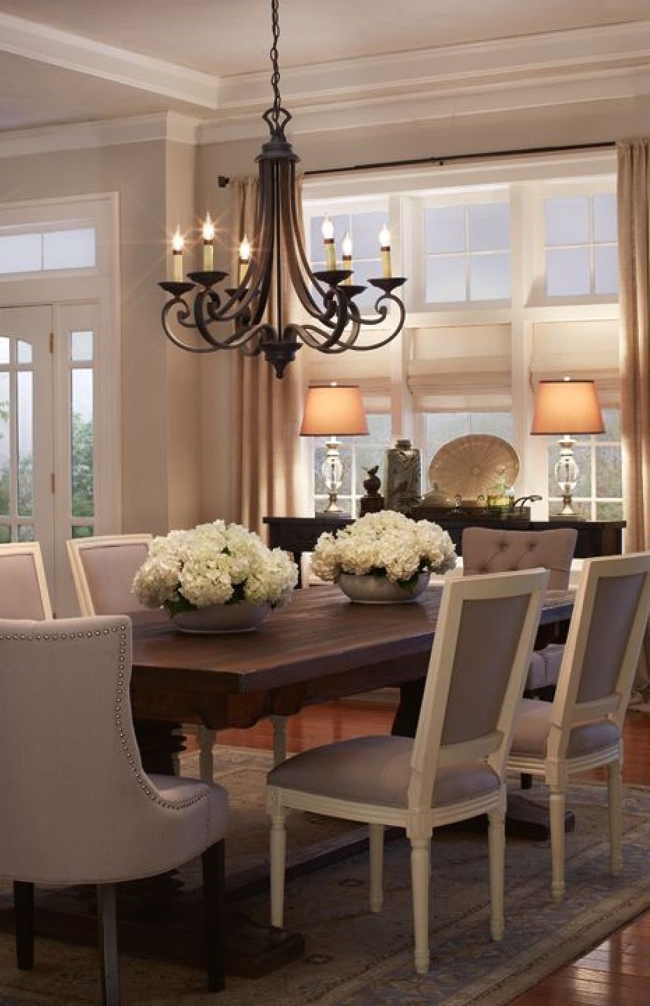 elegant furniture and lighting. Rectangle Formal Dining Room Table With Elegant Cushioned Chairs Furniture And Lighting G