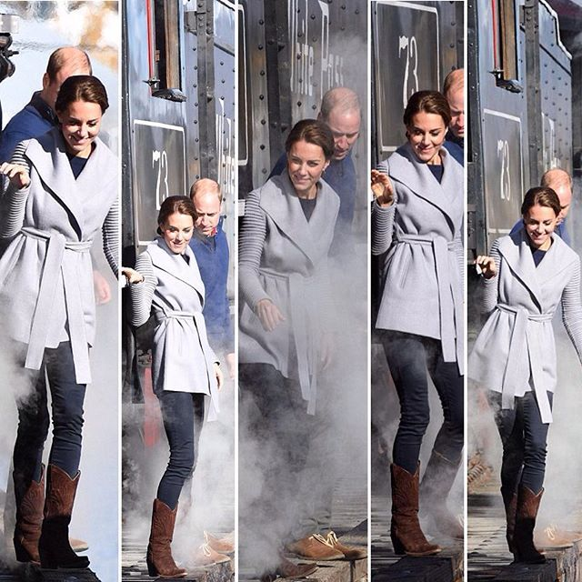 This series of pics look like a scene from an adventure movie #RoyalVisitCanada pics @dailymail Will & Kate defy aides and sidestep the side of a train track above freezing water!