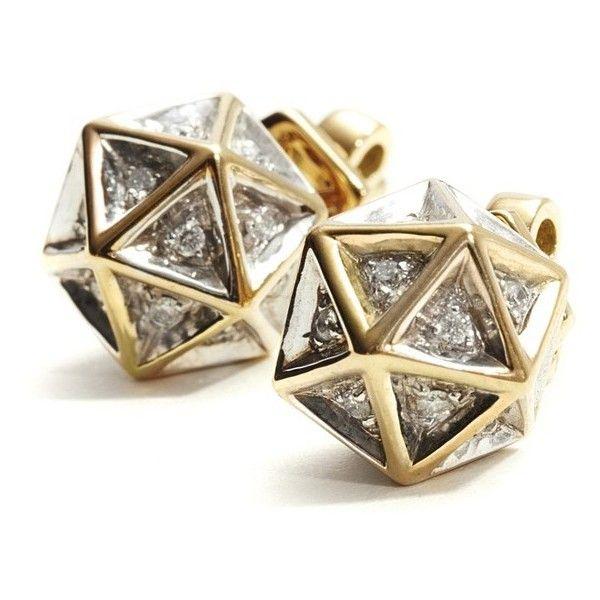 John Brevard Icoso Diamond Gold Stud Earring 6Gpqtb26R