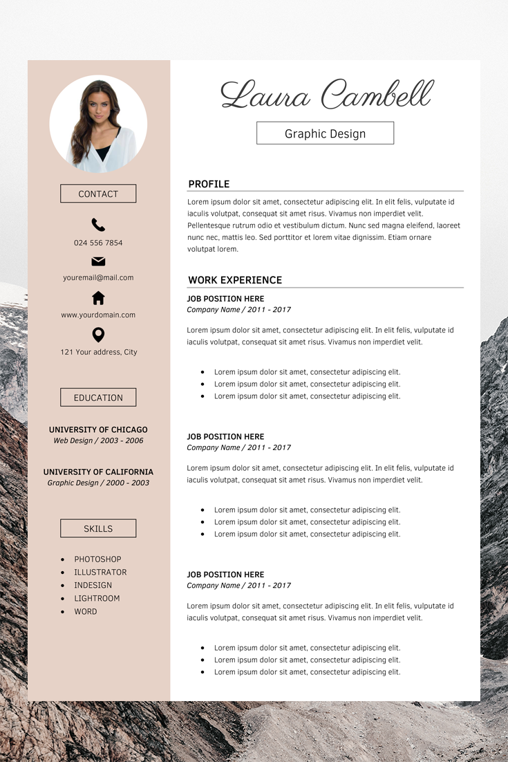 Resume Cv Template Cover Letter Laura Cambell 188112 Resume Templates Design Bundles In 2020 Cv Template Word Resume Template Word Resume Design Template