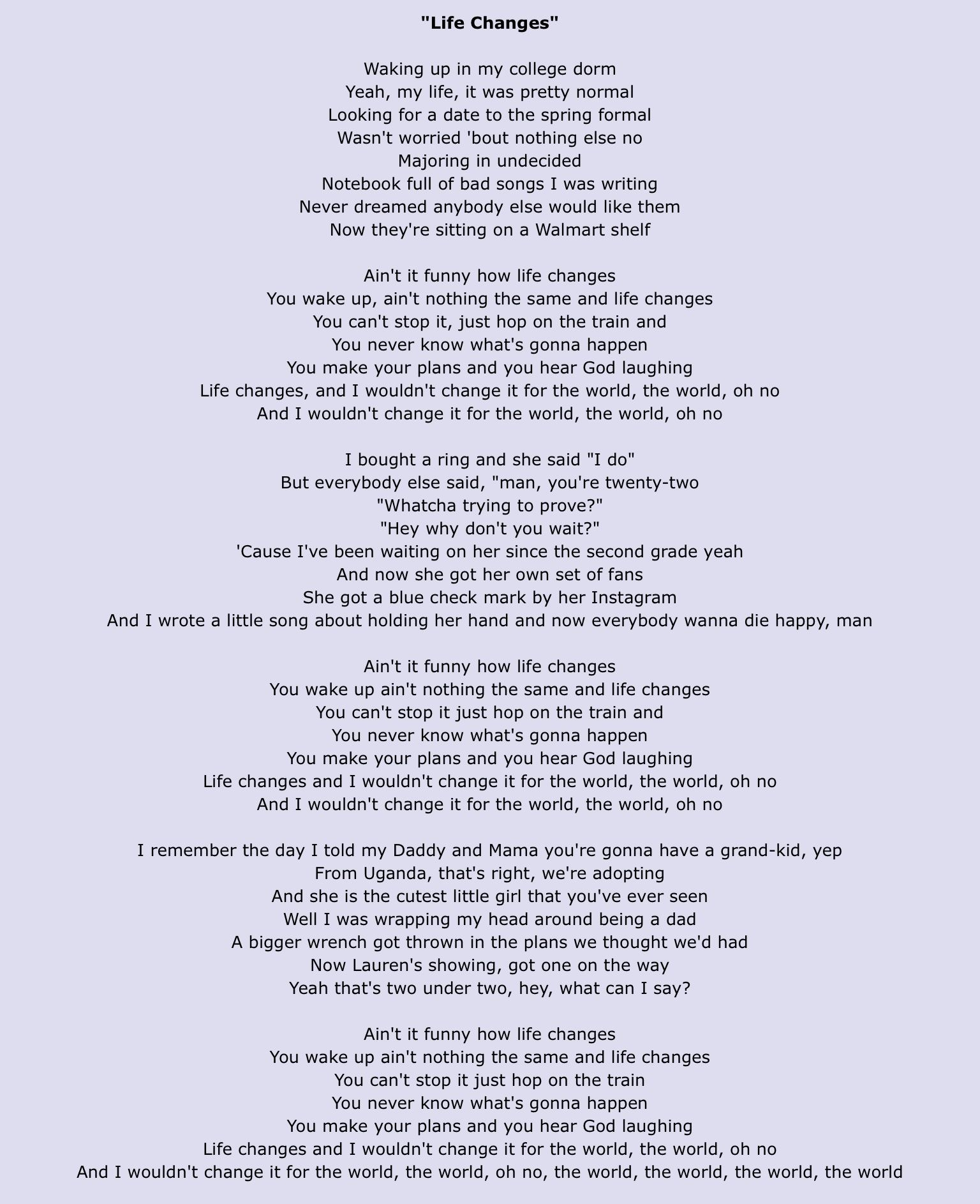 Life Changes By Thomas Rhett Country Lyrics Changes Lyrics Thomas Rhett Lyrics