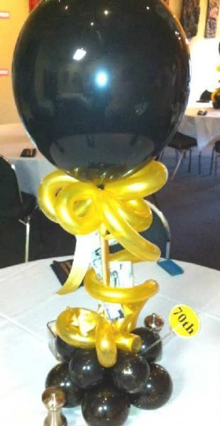 Black and gold balloon centerpiece for th birthday party