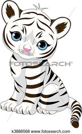 cute white tiger cub clip art white tiger cubs tiger cub and clip art rh pinterest nz  white bengal tiger clipart