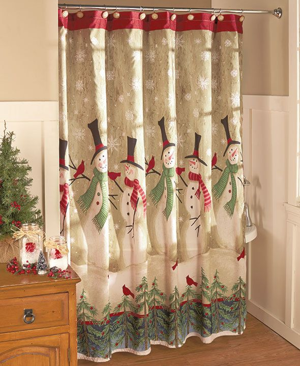 Snowmen Bathroom Shower Curtain Holiday Winter Scene Christmas Bath Home  Decor