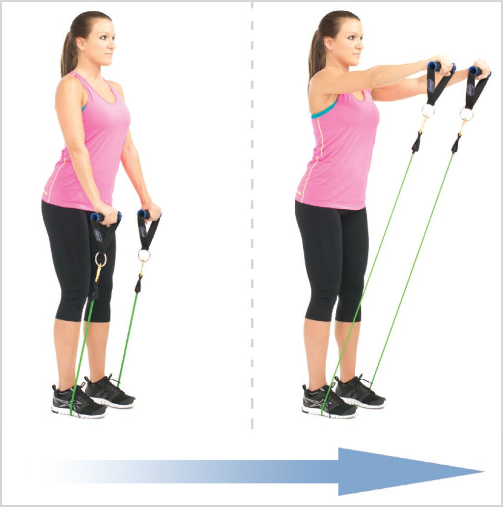 Standing Front Shoulder Raise With Resistance Bands