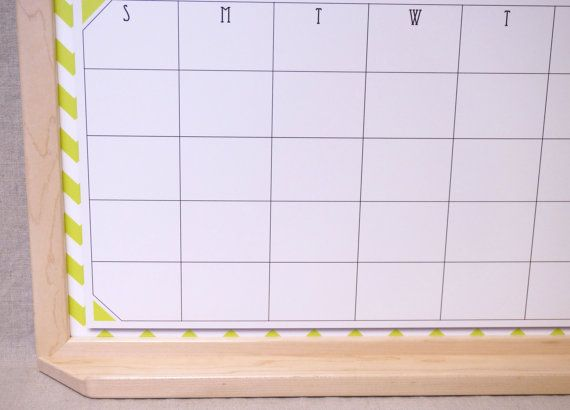chartreuse chevron framed wall calendar whiteboard shown with maple frame with matching tray