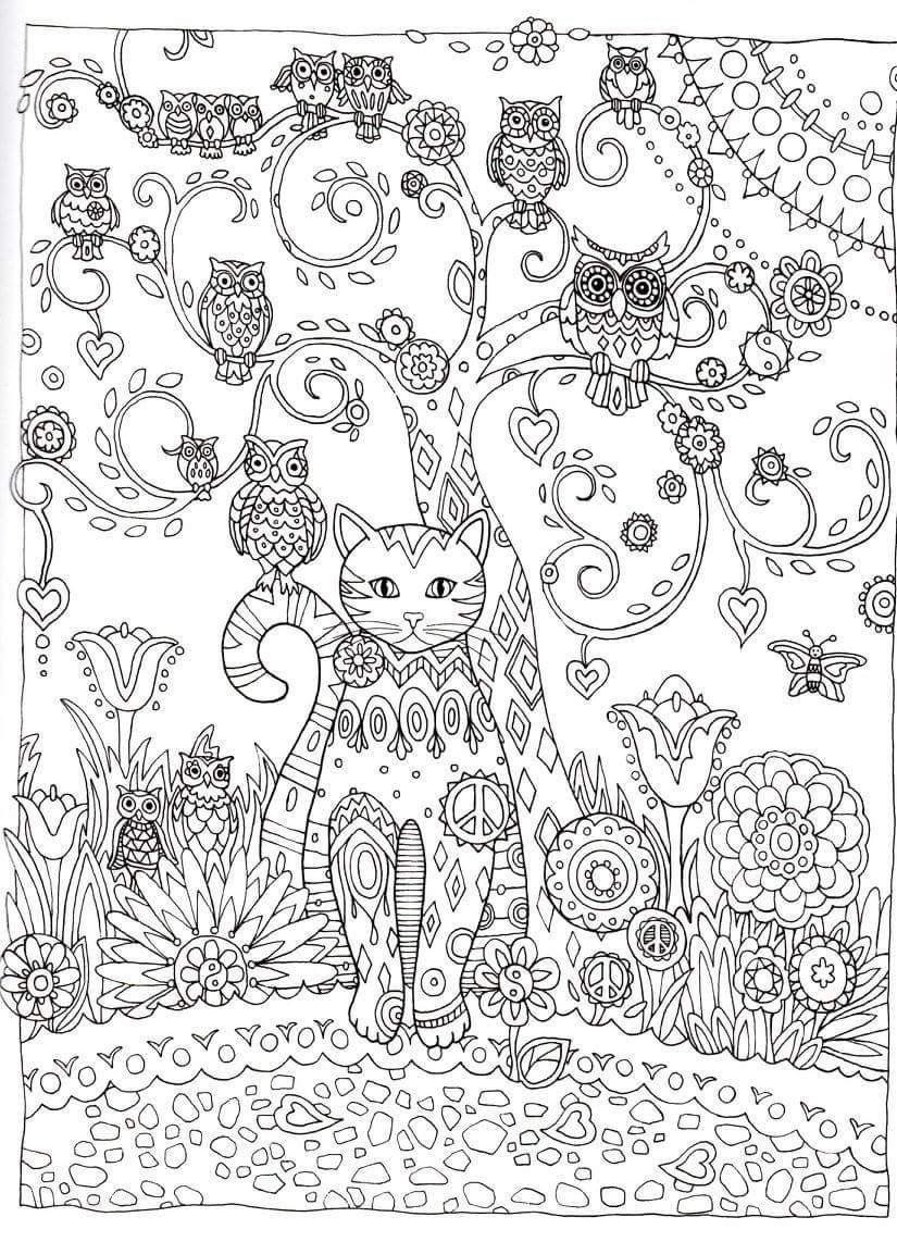 hard cat design coloring pages - photo#40