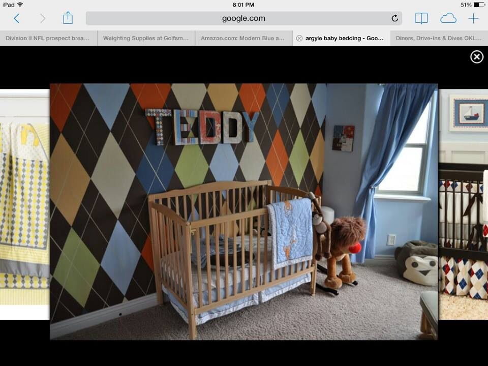 Very Cool Argyle Wall Boy Room Painted Feature Wall