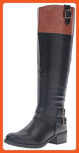 0d16e4cae3515 Rampage Womens Ingred Wide Calf Riding Boot, Black/Cognac, 5 M US ...