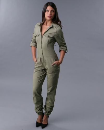 Rocawear Womens Military Jumpsuit Long Sleeve Zip Up Army Green