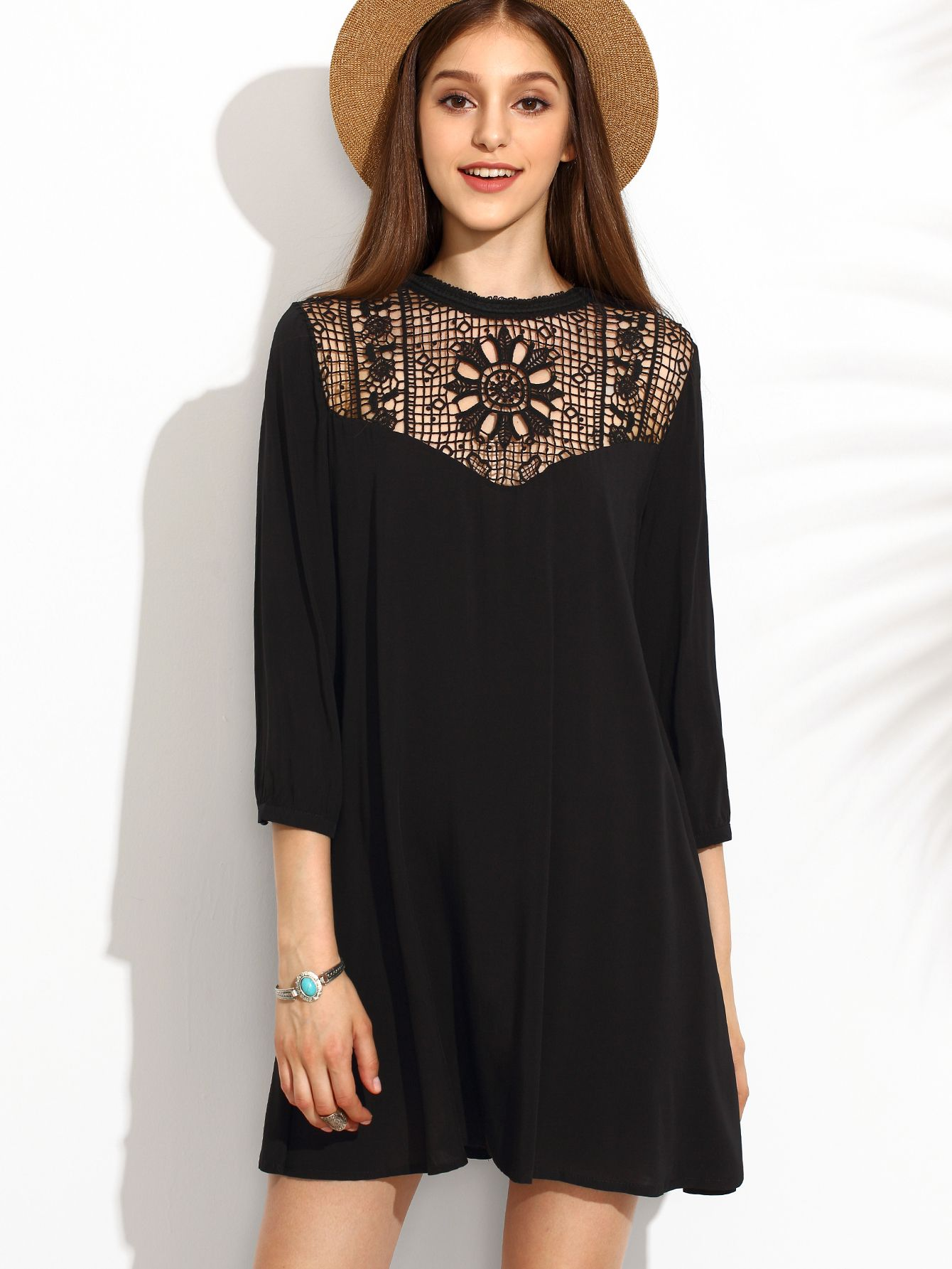061469da6f4 Shop Black Crochet Front Tunic Dress online. SheIn offers Black Crochet  Front Tunic Dress & more to fit your fashionable needs.