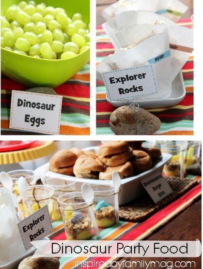 Kids Party Idea Dinosaur Party Dinosaur food Birthdays and Food
