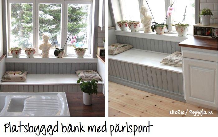 bänk till kök ~ platsbyggd bänk med pärlspont  pärlspont & råspont