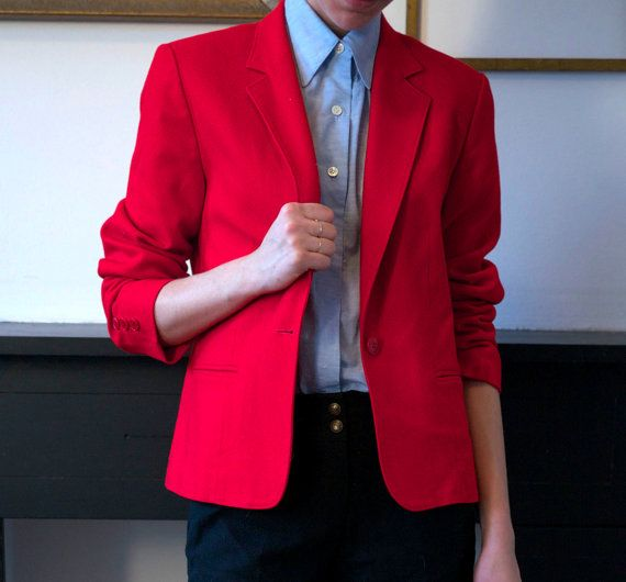 Bright Cherry Red Pendleton Valentine's Wool Blazer ~ Brooklyn Laundry...so cute for the Vday festivities!