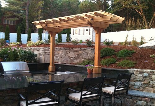 Small pergola small simple pergola creating a vertical framing element for a garden for Outdoor kitchen designs with pergolas