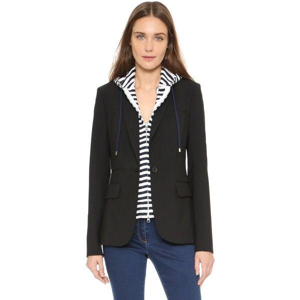 Veronica Beard Striped Hoodie Dickey (1.795 NOK) ❤ liked on Polyvore featuring tops, hoodies, zipper hoodies, hoodie top, stripe top, zip hoodies and striped hoodies