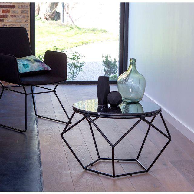 Table basse ronde de jardin en métal noir et marbre | Salons, Tables ...