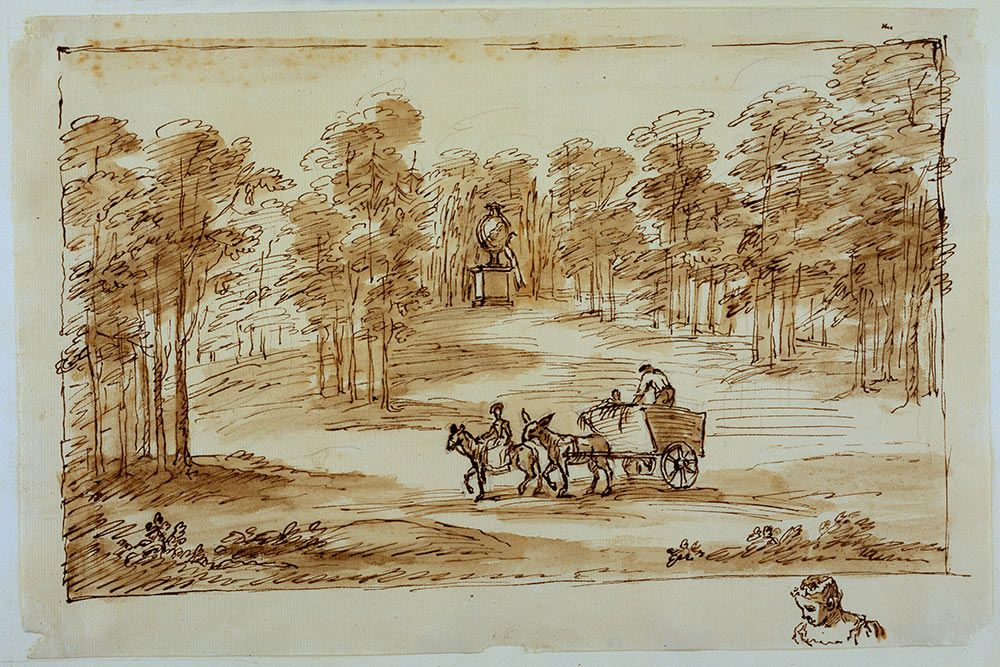 Image result for Landscape at Chiswick (c. 1733-38), William Kent, pencil, pen and ink.